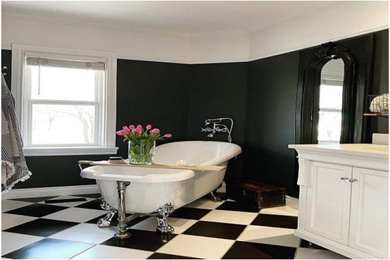 Contemporary Bathroom Designs With Black and White Bathroom Tile Design