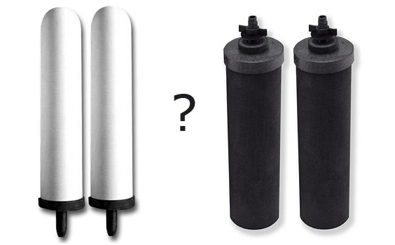 What is the difference between white ceramic filters and AquaBare black filter elements?